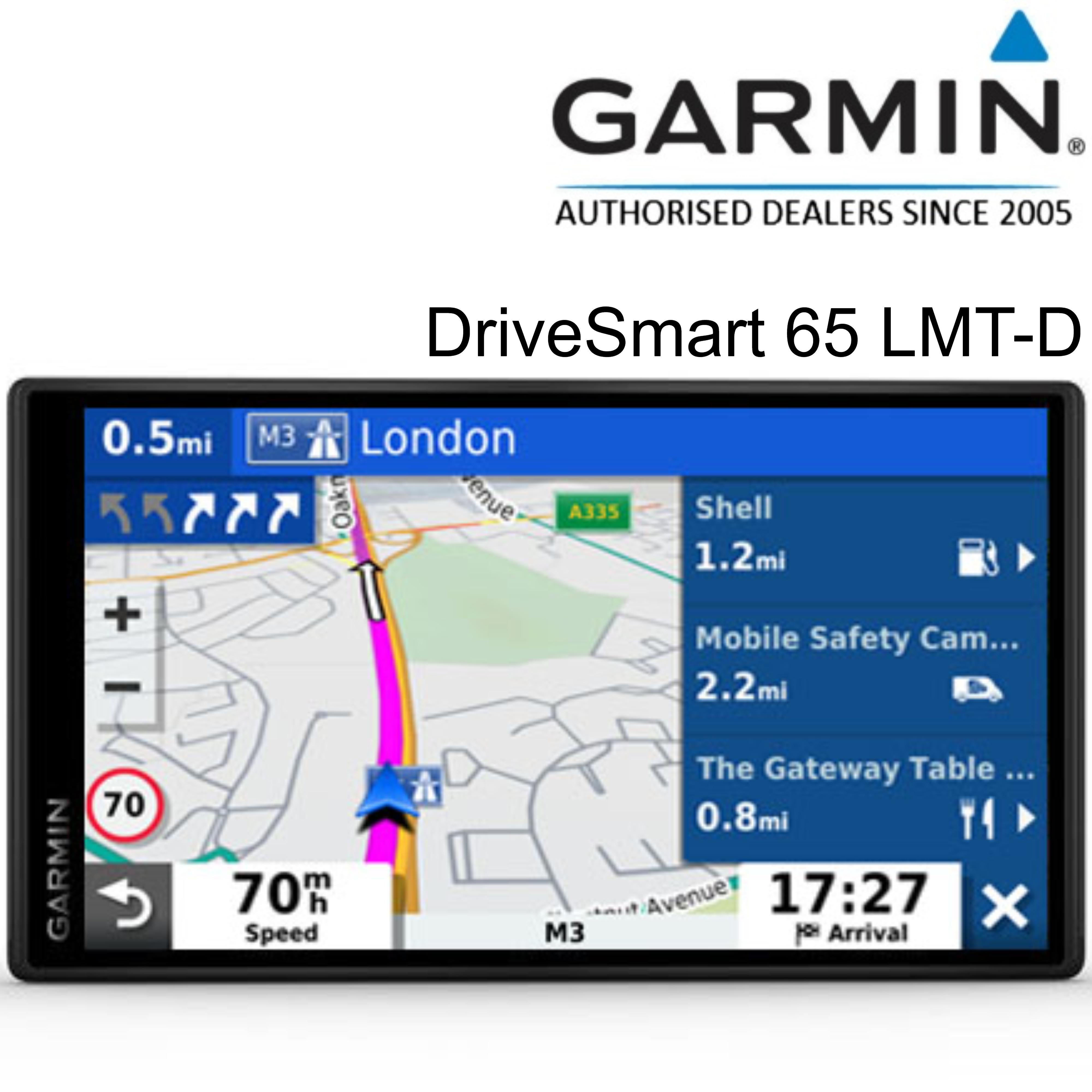 Garmin DriveSmart 65 LMT-D GPS SatNav | Full Europe Lifetime Map Updates + Digital Traffic