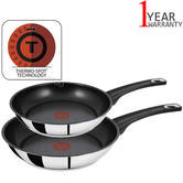 Tefal Jamie Oliver Set of 2 Stainless Steel Frypans | 20-26cm Induction Compatible