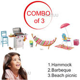 Barbie Large Outdoor Themed Accessory Toys Set | Hammock/Barbeque or Beach Picnic