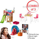 Barbie Large Indoor Themed Accessory Toys Set | Dining For Two/Movie Night/PetPlay