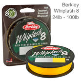 Berkley Whiplash Carrier 8 Braid Fishing Line | 100% PE Superline | 300m Spool | Yellow