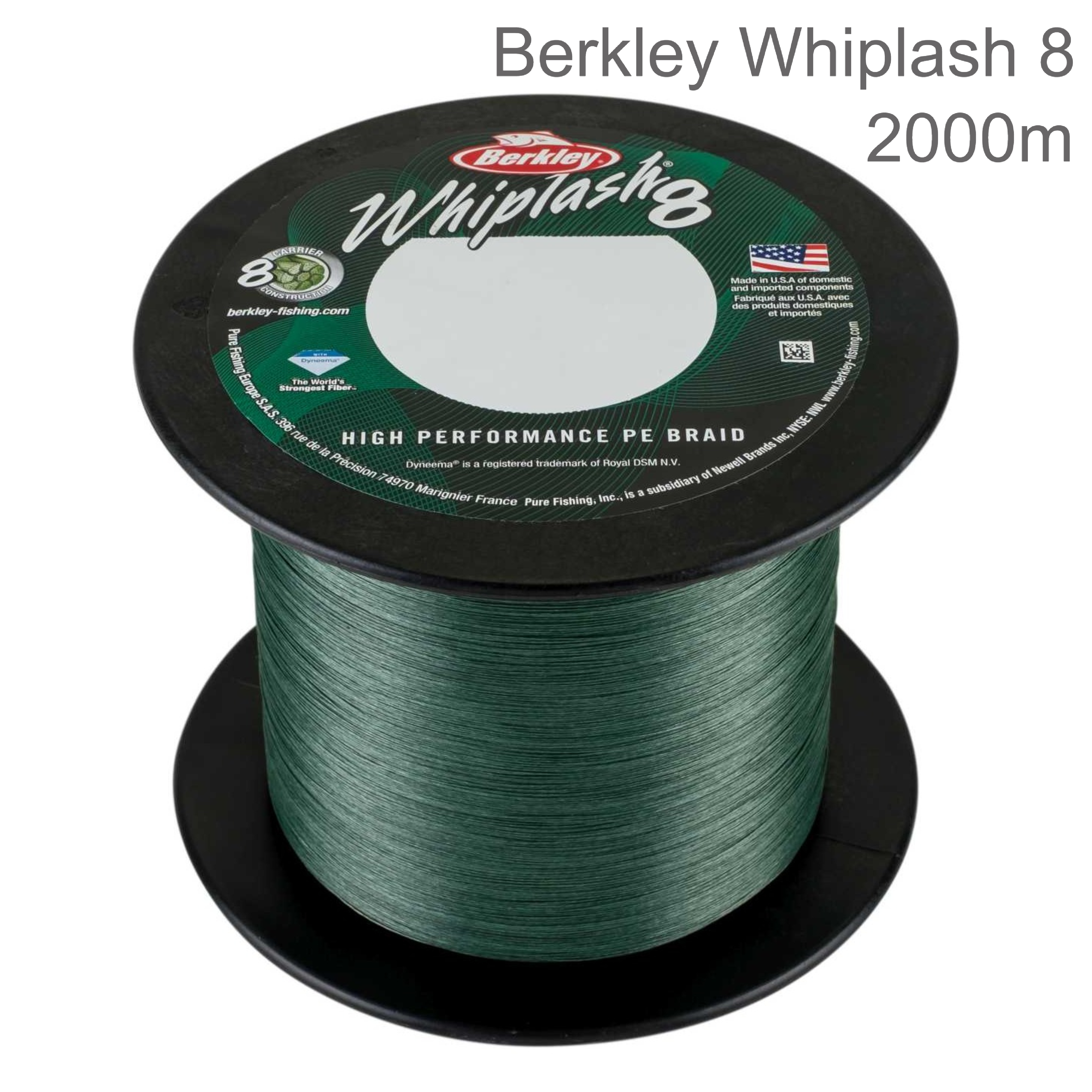Berkley Whiplash Carrier 8 Braid Fishing Line | 100% PE Superline | 2000m Spool | Green