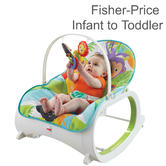 Fisher-Price Infant to Toddler Rocker Blue For Baby | Washable Seat Pad | Toys Bar
