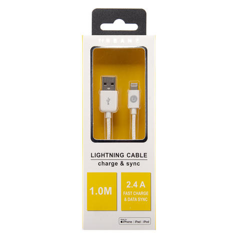 Urbanz Braided Cord Charge & Sync Lightning Cable For iPhone & iPad?White?INC-LC1-WH Thumbnail 4