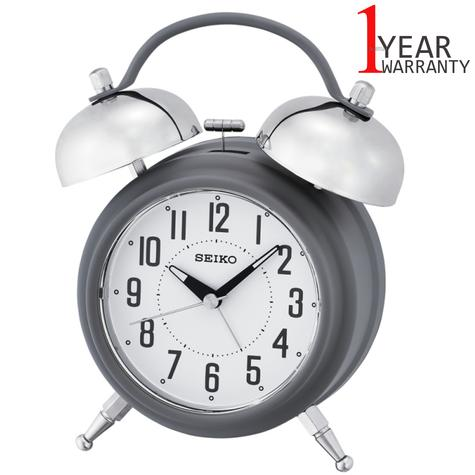 Seiko Large Bell Alarm Clock With Snooze | Illumination Dial | Matt Grey | QHK051N | NEW Thumbnail 1
