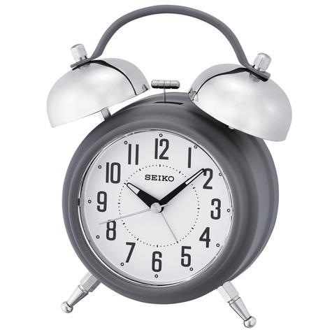 Seiko Large Bell Alarm Clock With Snooze | Illumination Dial | Matt Grey | QHK051N | NEW Thumbnail 2