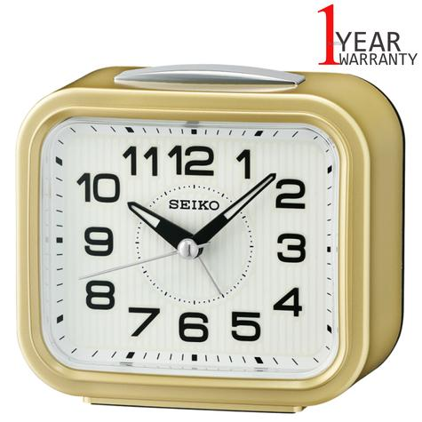 Seiko Quiet Sweep Second Hand Bell Alarm Clock | Snooze | Plastic Case | Gold | QHK050G Thumbnail 1