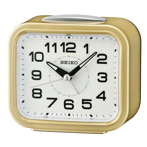 Seiko Quiet Sweep Second Hand Bell Alarm Clock | Snooze | Plastic Case | Gold | QHK050G Thumbnail 2