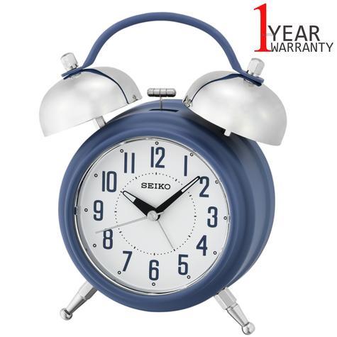 Seiko Large Bell Alarm Clock With Snooze | Illumination Dial | Matt Blue | QHK051L | NEW Thumbnail 1
