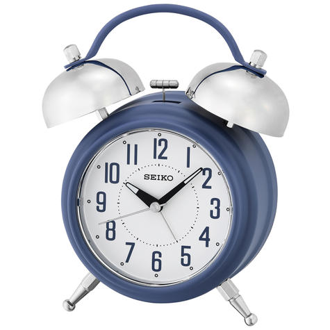 Seiko Large Bell Alarm Clock With Snooze | Illumination Dial | Matt Blue | QHK051L | NEW Thumbnail 2