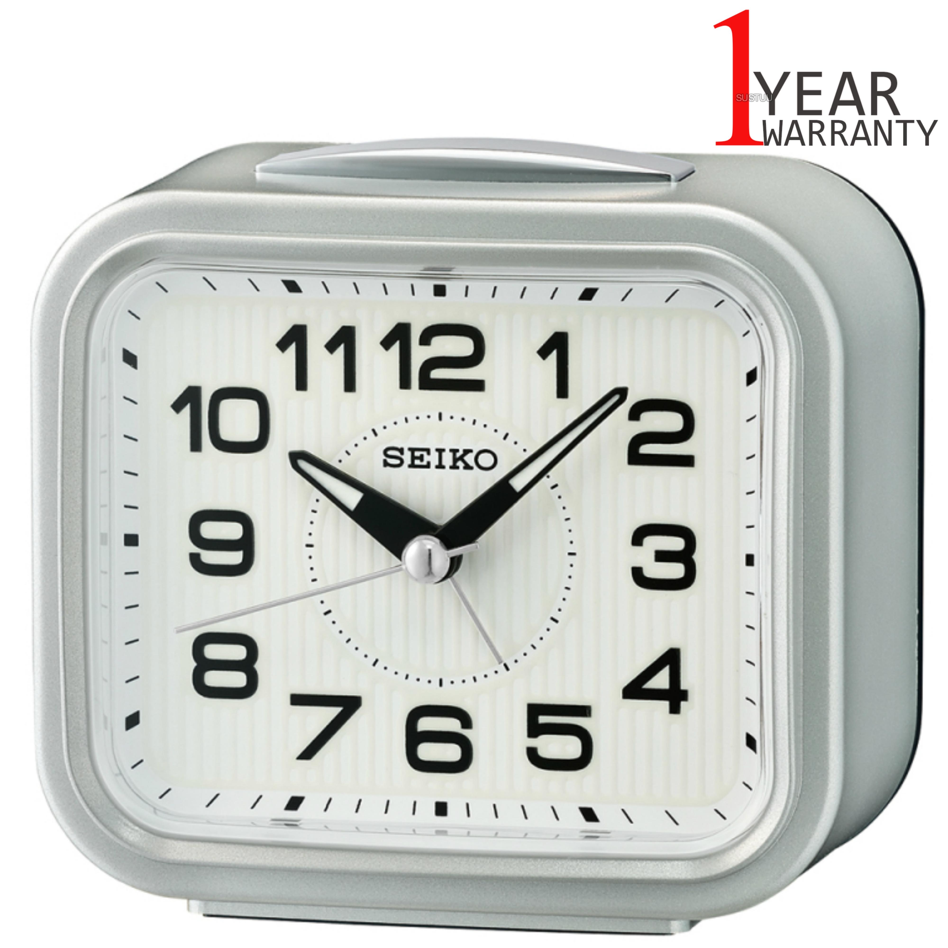 Seiko Bell Alarm Clock With Snooze   Plastic Case Material   Metallic Silver   QHK050S