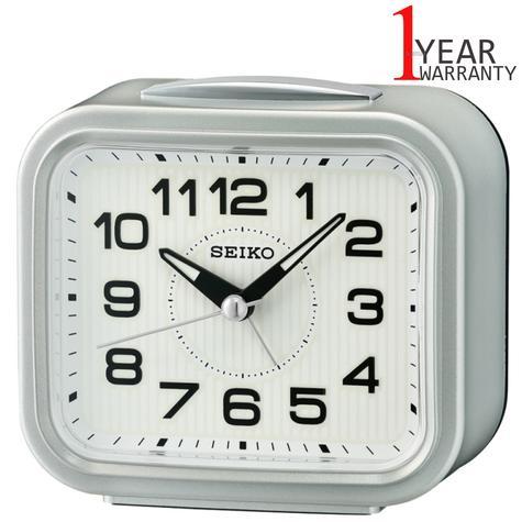 Seiko Bell Alarm Clock With Snooze   Plastic Case Material   Metallic Silver   QHK050S Thumbnail 1