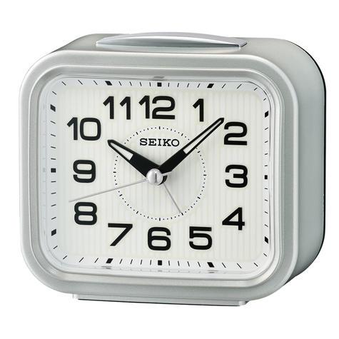 Seiko Bell Alarm Clock With Snooze   Plastic Case Material   Metallic Silver   QHK050S Thumbnail 2