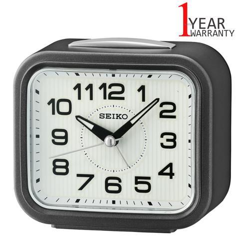Seiko Bell Alarm Clock With Snooze | Plastic Case | Dark Metallic Grey | QHK050N | NEW Thumbnail 1