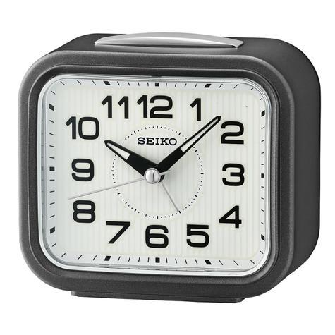 Seiko Bell Alarm Clock With Snooze | Plastic Case | Dark Metallic Grey | QHK050N | NEW Thumbnail 2