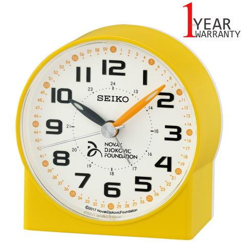 Seiko Novak Djokovic Foundation Alarm Clock | Lumibrite Hands | Yellow | QHE907Y | NEW Thumbnail 1