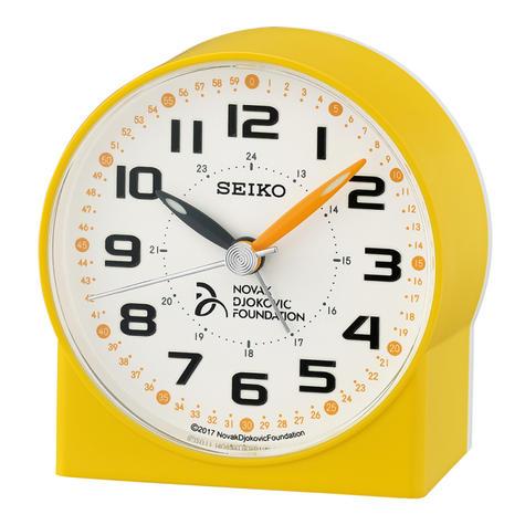 Seiko Novak Djokovic Foundation Alarm Clock | Lumibrite Hands | Yellow | QHE907Y | NEW Thumbnail 2