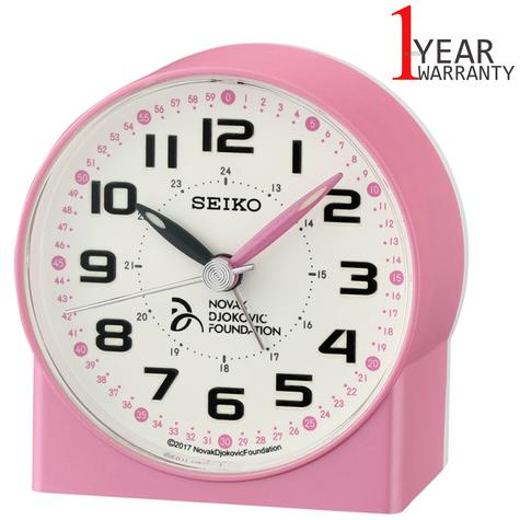 Seiko Novak Djokovic Foundation Alarm Clock | Lumibrite Hands | Pearl Pink | QHE907P Thumbnail 1