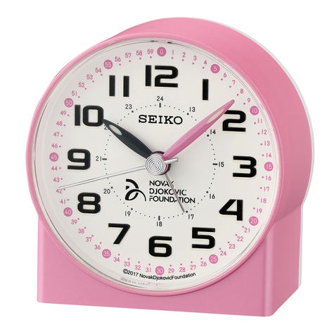 Seiko Novak Djokovic Foundation Alarm Clock | Lumibrite Hands | Pearl Pink | QHE907P Thumbnail 2
