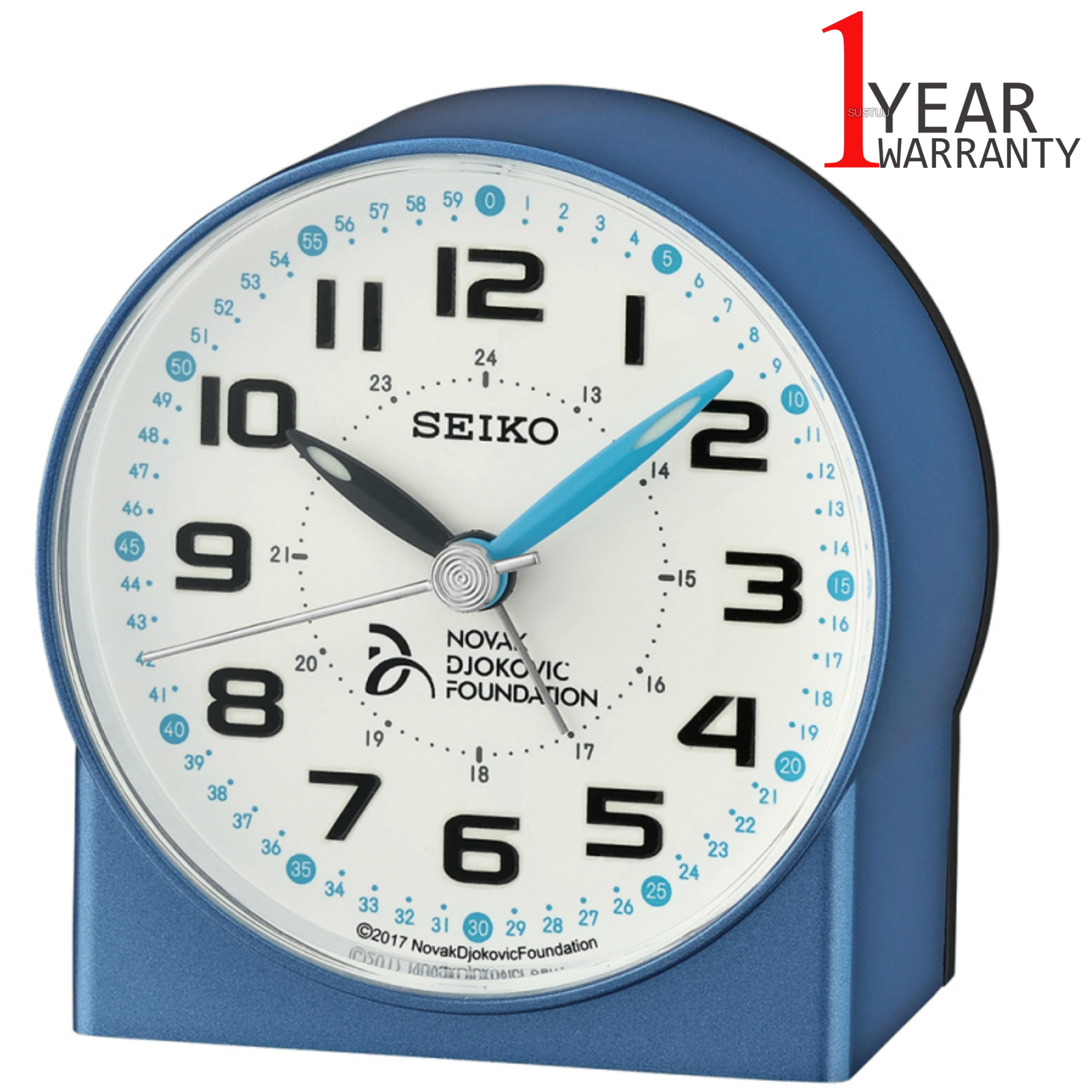 Seiko Novak Djokovic Foundation Alarm Clock | Lumibrite Hands | Metalic Blue | QHE907L