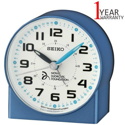 Seiko Novak Djokovic Foundation Alarm Clock | Lumibrite Hands | Metalic Blue | QHE907L Thumbnail 1