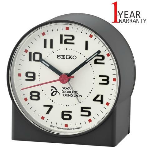 Seiko Novak Djokovic Foundation Alarm Clock | Lumibrite Hands | Matt Black | QHE907K Thumbnail 1