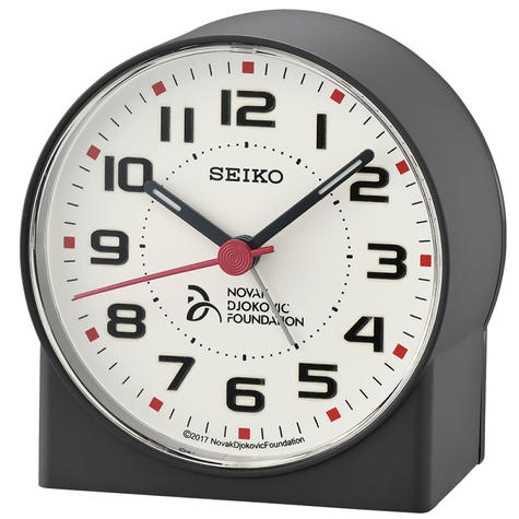 Seiko Novak Djokovic Foundation Alarm Clock | Lumibrite Hands | Matt Black | QHE907K Thumbnail 2