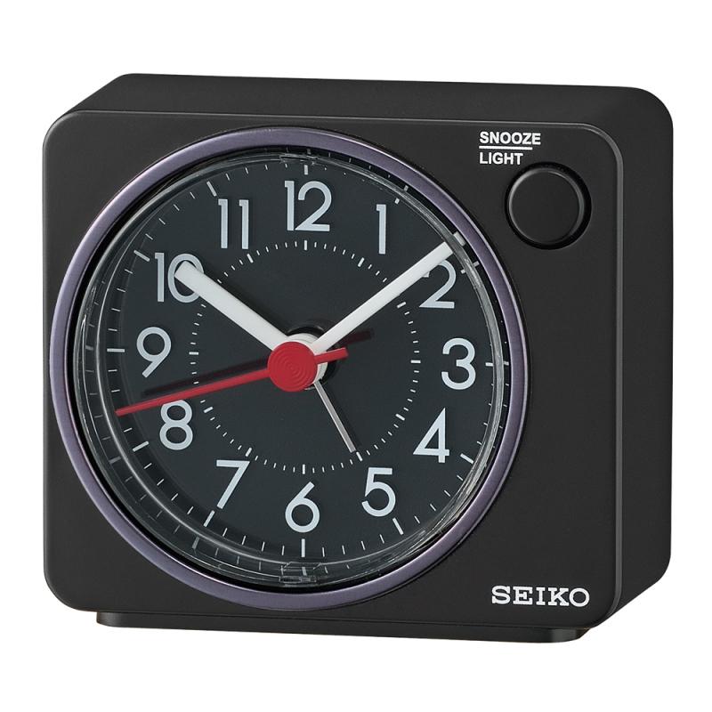 Seiko QHE100K Quiet Sweep Second Hand Beep Alarm Clock | Arabic Numerals | Black