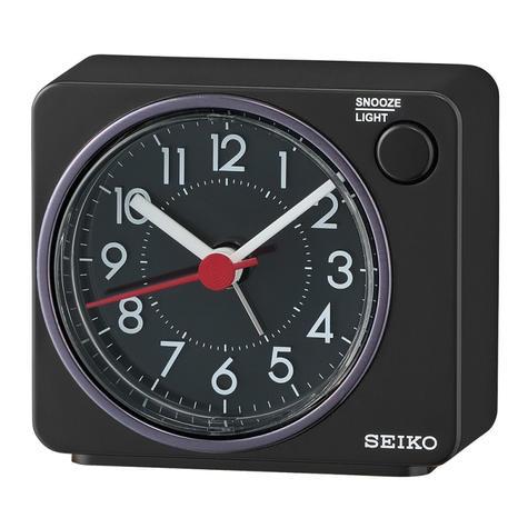 Seiko QHE100K Quiet Sweep Second Hand Beep Alarm Clock | Arabic Numerals | Black  Thumbnail 1
