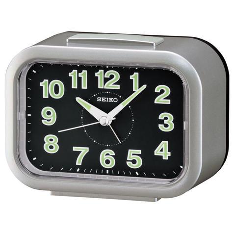 Seiko Quiet Sweep Second Hand LumiBrite Bell Alarm Clock | Snooze | Silver | QHK026S Thumbnail 1
