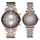Emporio Armani Classic Couple Watch | Grey Dial | Dual Tone Strap | AR1721+AR1425