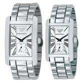 Emporio Armani Classics Couple Watch | Silver Square Dial | Stainless Strap | AR0145+AR0146