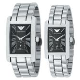 Emporio Armani Classic Couple Watch | Black Rectangle Dial | Stainless Strap | AR0156+AR0157