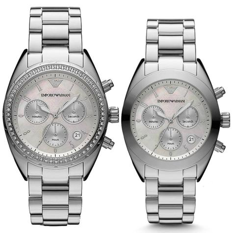 Emporio Armani Sportivo Series Couple Watch | Mother of Pearl Dial | Stainless Strap Thumbnail 1