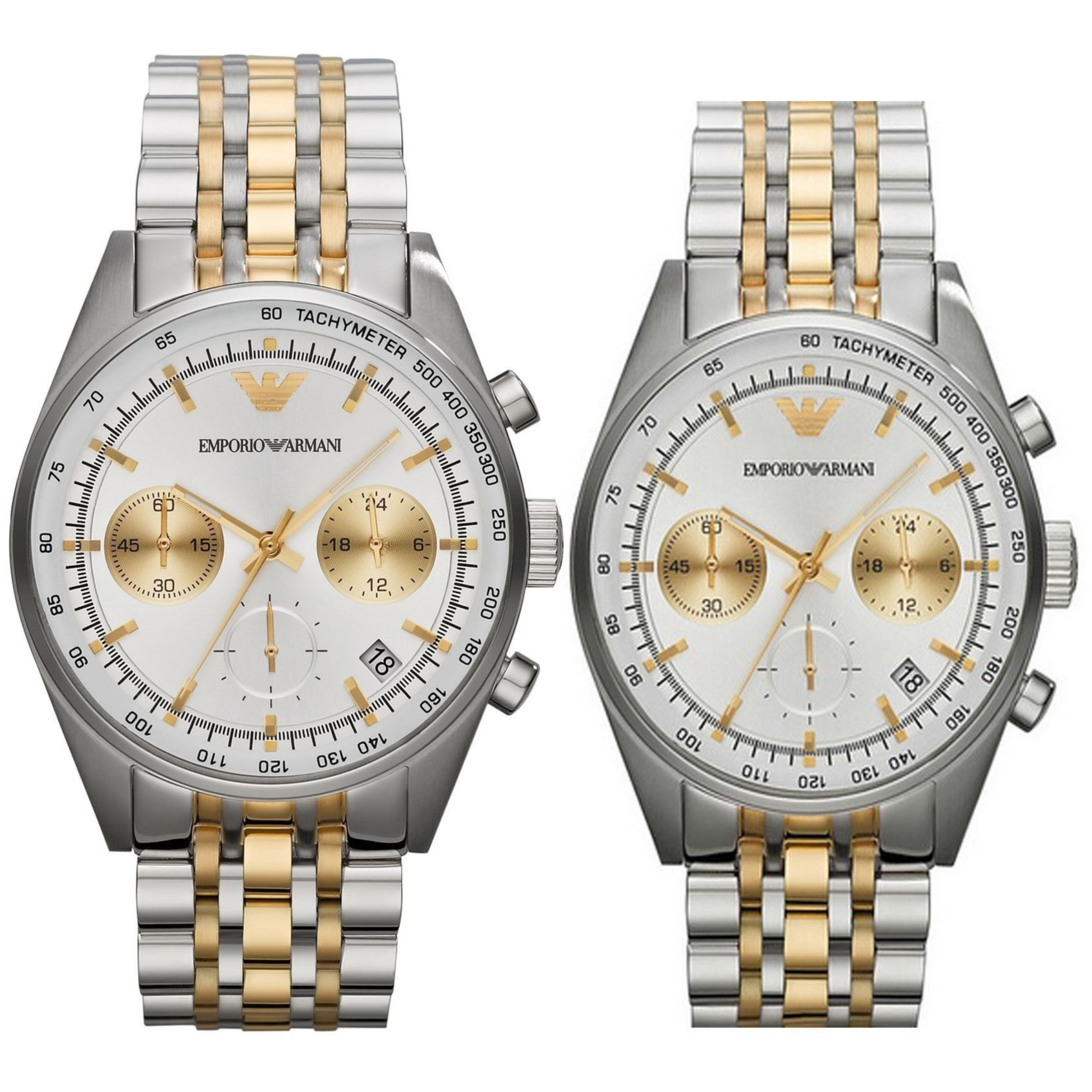 Emporio Armani Sportivo Couple Watch | Chronograph | Tachymeter Dial | Dual Tone Strap