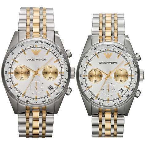 Emporio Armani Sportivo Couple Watch | Chronograph | Tachymeter Dial | Dual Tone Strap Thumbnail 1