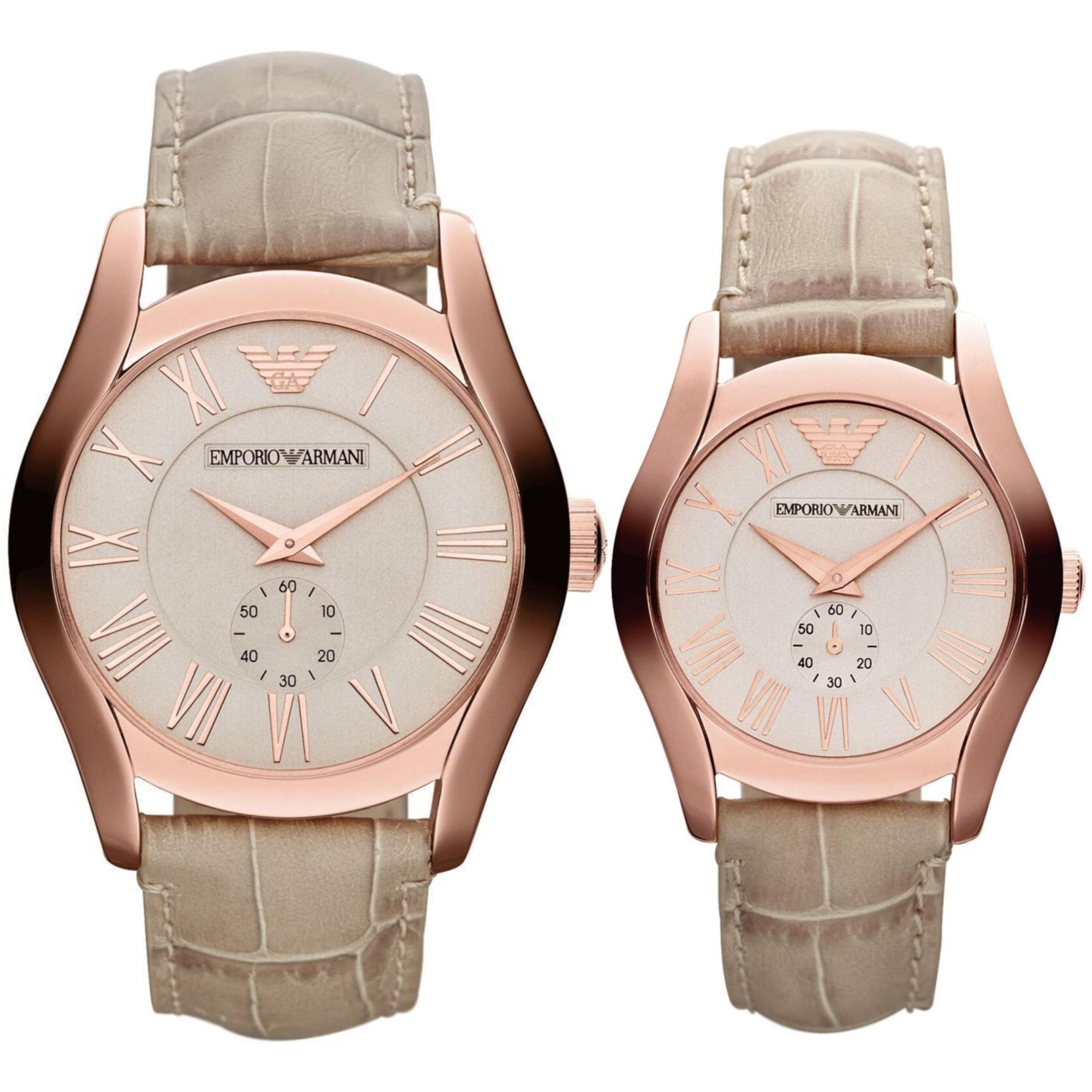 Emporio Armani Classic Couple Watch | Salmon Dial | Cream Leather Band | AR1667+AR1670