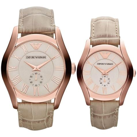 Emporio Armani Classic Couple Watch | Salmon Dial | Cream Leather Band | AR1667+AR1670 Thumbnail 1