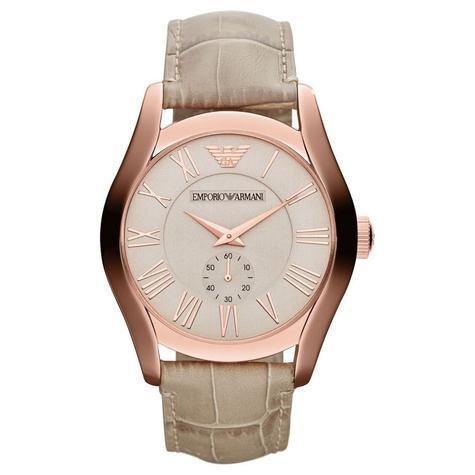 Emporio Armani Classic Couple Watch | Salmon Dial | Cream Leather Band | AR1667+AR1670 Thumbnail 2
