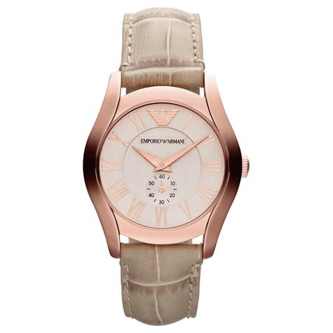 Emporio Armani Classic Couple Watch | Salmon Dial | Cream Leather Band | AR1667+AR1670 Thumbnail 3