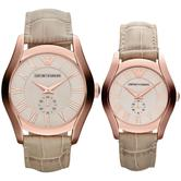 Emporio Armani Classic Couple Watch | Salmon Dial | Cream Leather Band | AR1667+AR1670