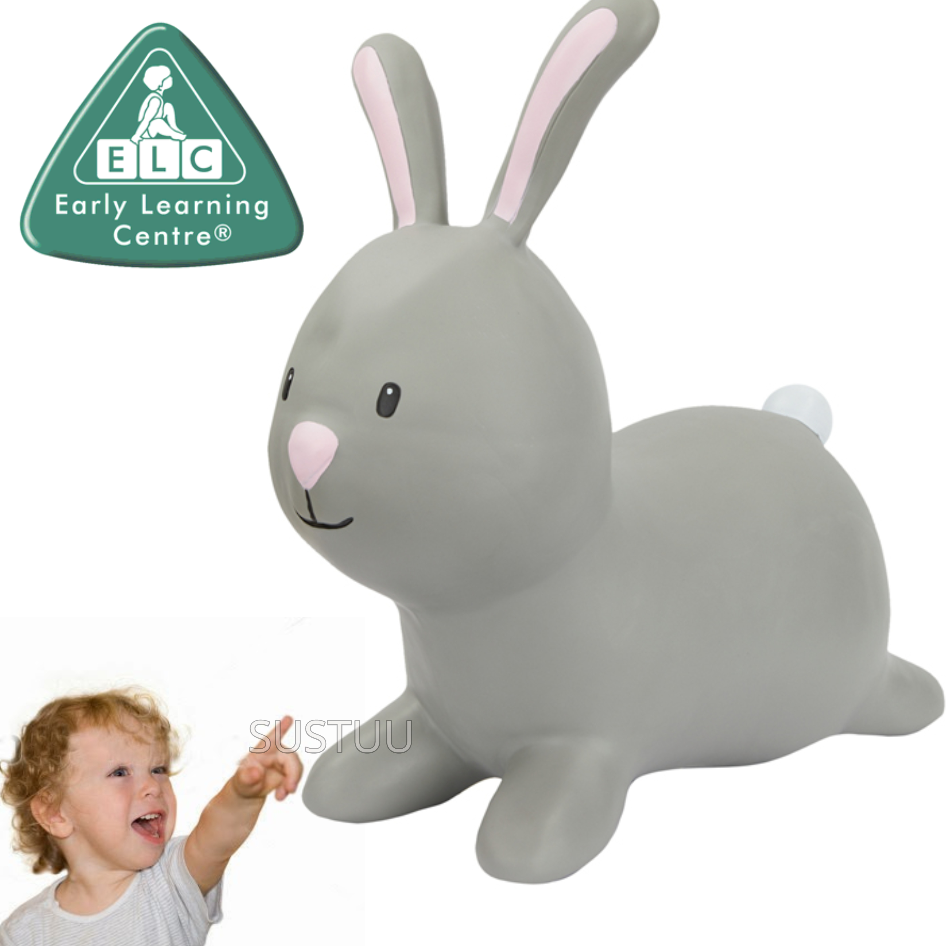 Early Learning Centre Grey Rabbit Hopper | Kid's Balancing/Bouncing Rider Outdoor Toy