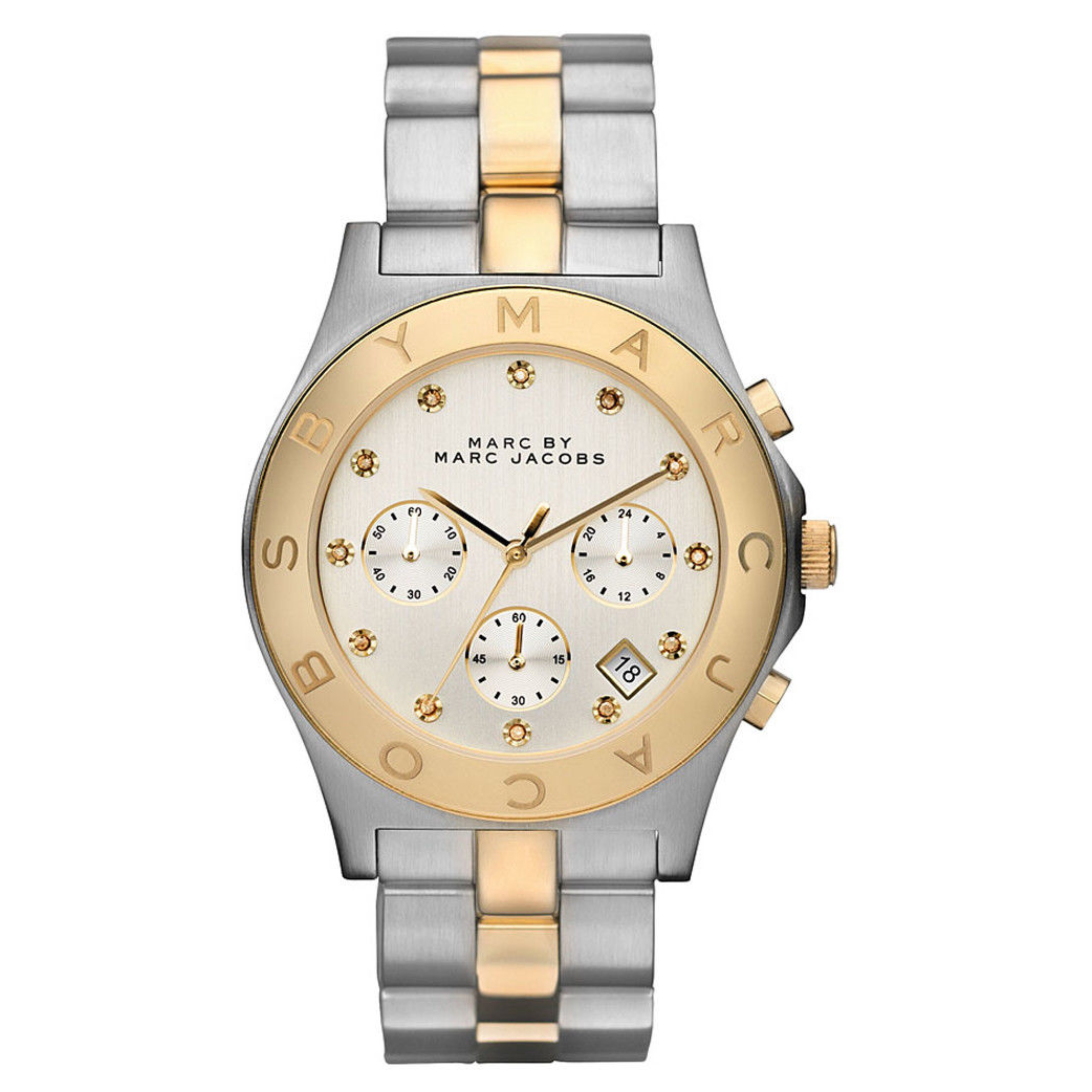 Marc Jacobs Blade Ladies Watch | Chronograph Dial Stone Marker | Stainless Strap | MBM3177