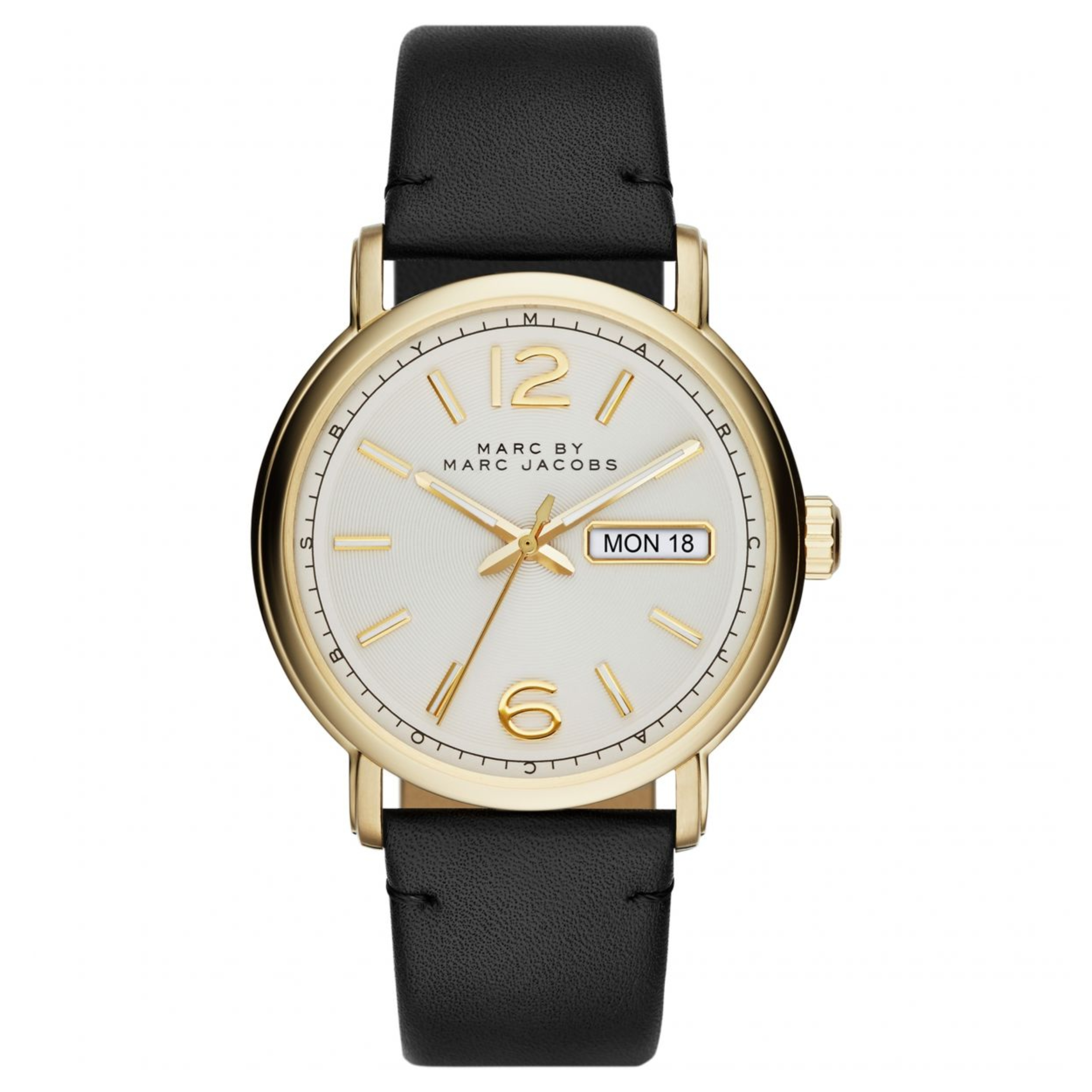 Marc Jacobs Fergus Men's Watch | Day Date White Dial | Black Leather Strap | MBM5081