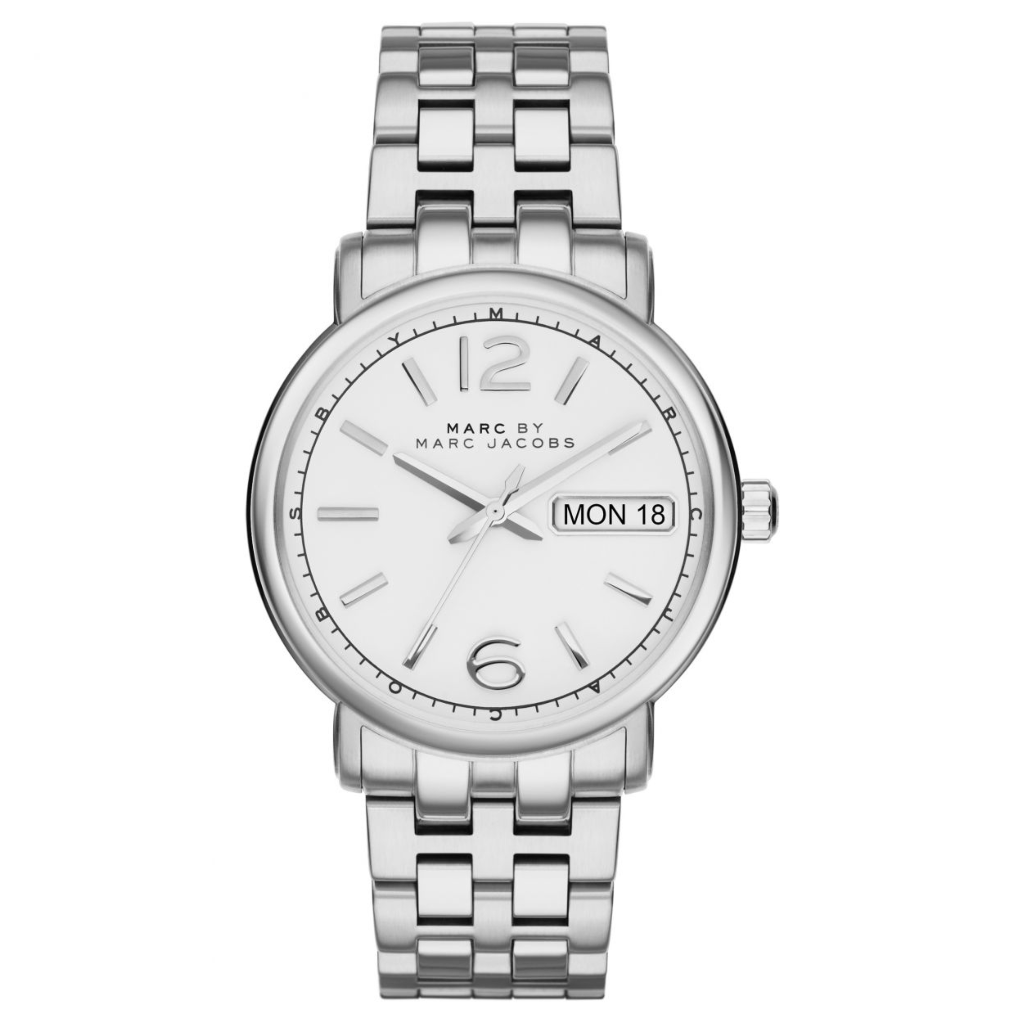 Marc Jacobs Fergus Ladies Watch | Day Date White Dial | Stainless Steel Strap | MBM8646