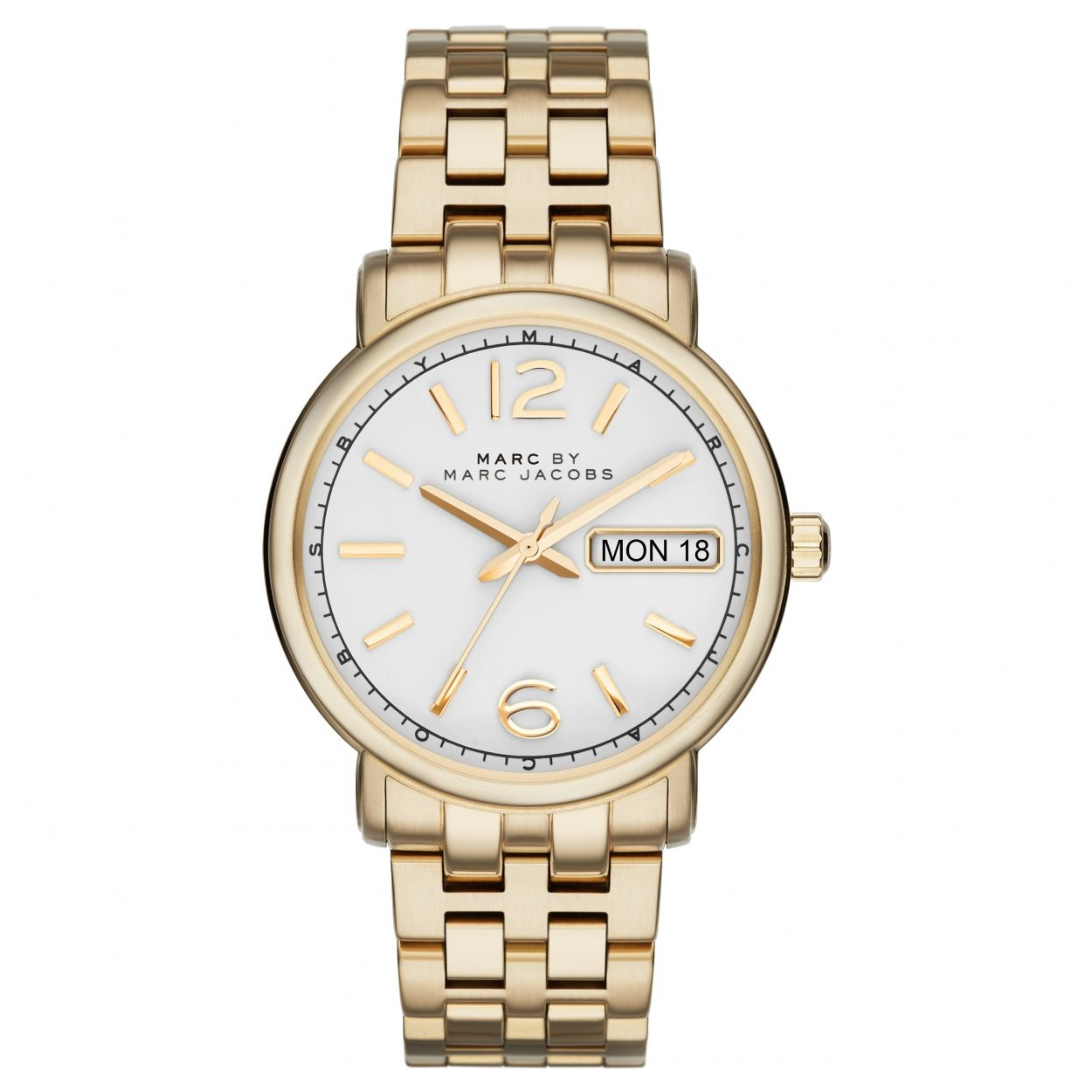 Marc Jacobs Fergus Ladies Watch | White Dial | Gold Tone Stainless Strap | MBM8647