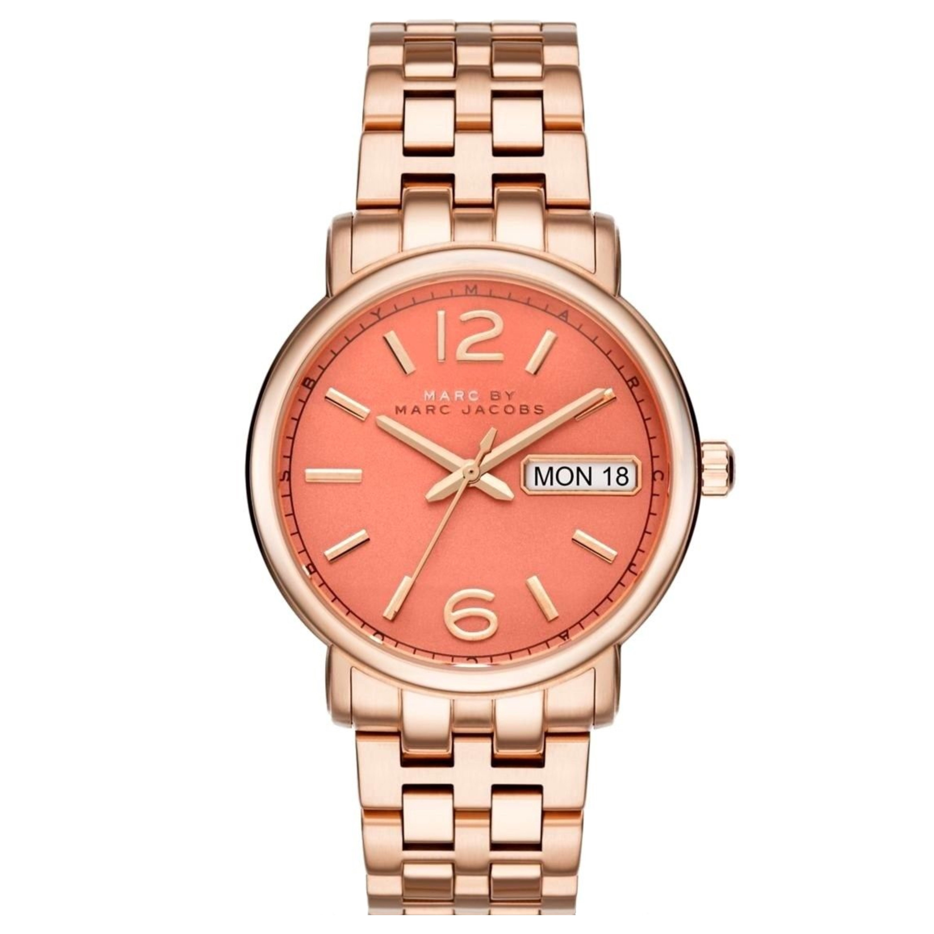 Marc Jacobs Fergus Ladies Watch | Peach Dial | Rose Tone Stainless Strap | MBM8648