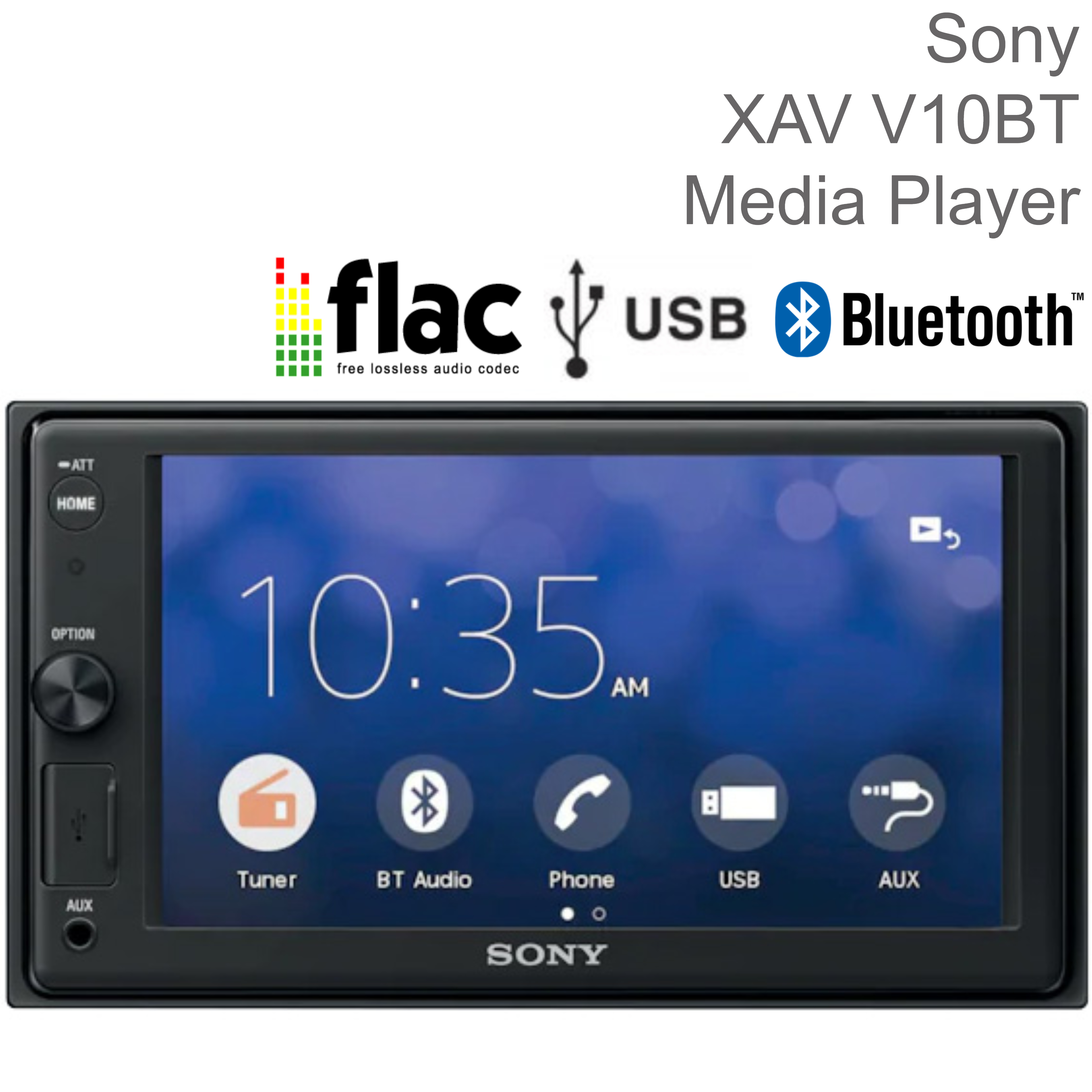 """Sony Car Stereo Player   2-Din Media Receiver   Bluetooth   USB/AUX   6.2"""" Touchscreen"""
