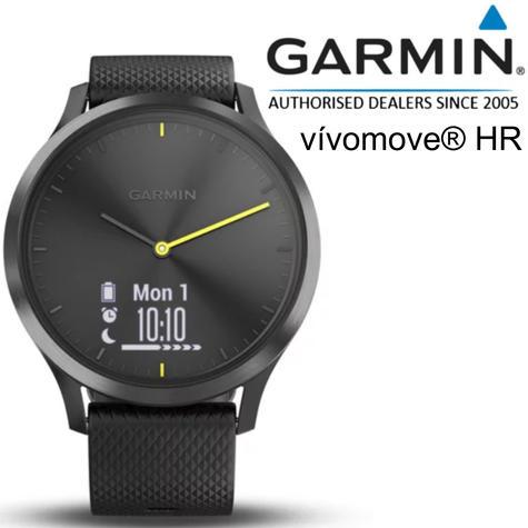 Garmin Vivomove HR Hybrid Sport Smartwatch | Heart Rate Monitor | ANT+ | Large | Black Thumbnail 1