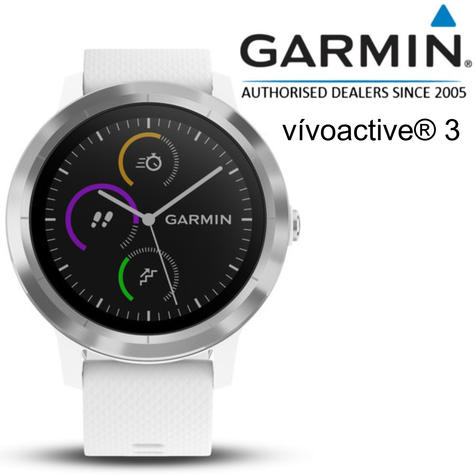 Garmin Vivoactive 3 GPS Running HRM Sports Smartwatch | Heart Rate | Bluetooth | White Thumbnail 1